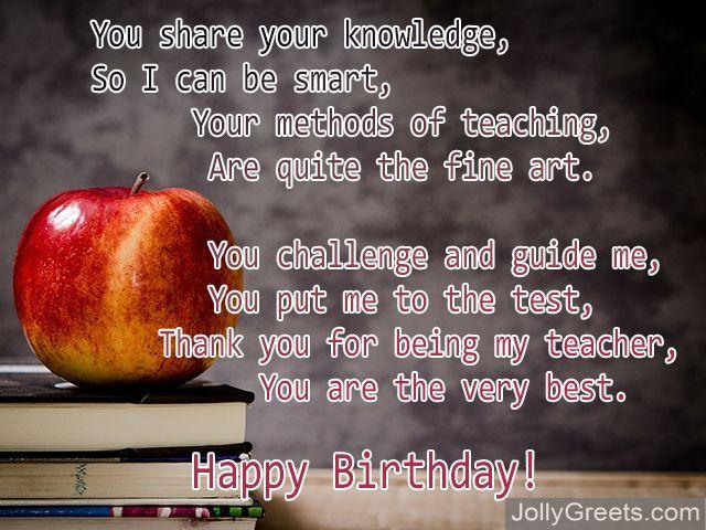 Birthday Poems For Teacher on Apple Poems For Teachers