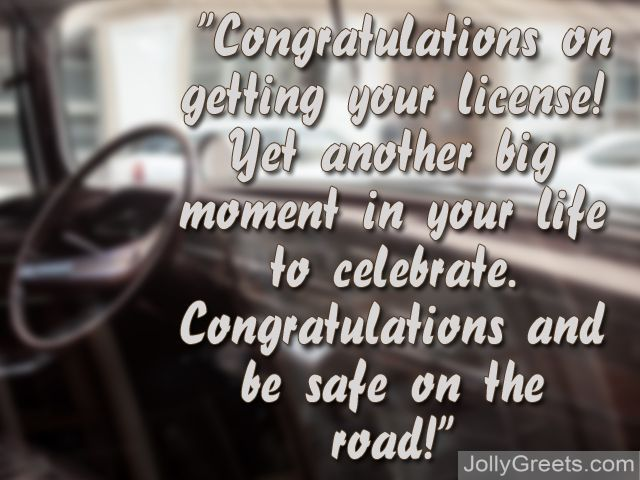 congratulations on your driver s license greeting card messages